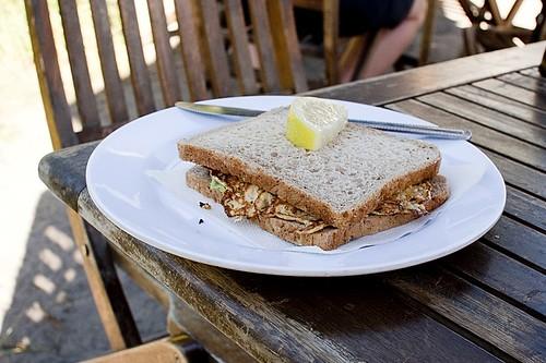 Whitebait fritter sandwich