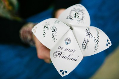 Cootie catcher wedding program
