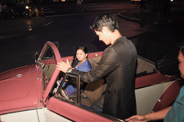 daniel getting in car for date