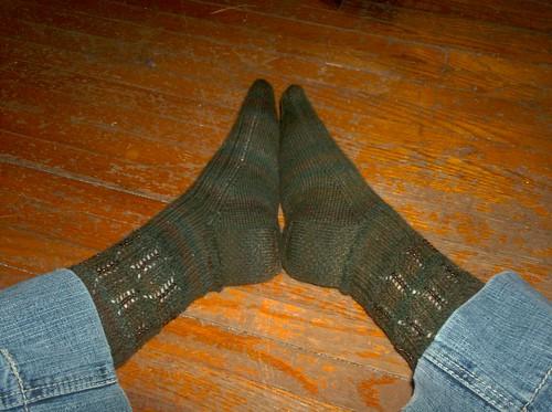 Beaded Mystery Socks, complete