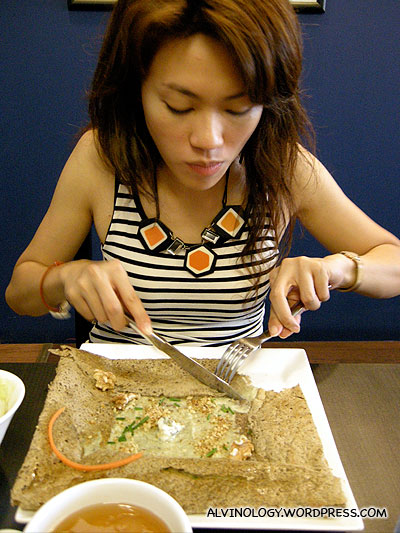 Rachel enjoying her healthy food