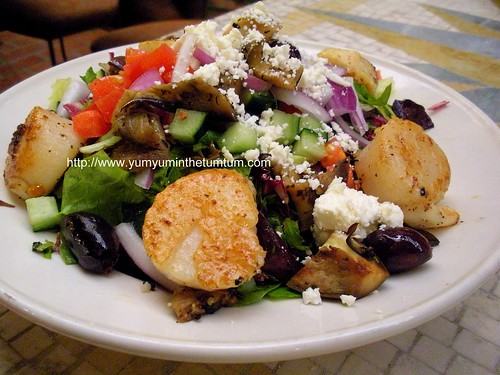 half sized mediterranean eggplant salad with half portions of seared sea scallops add on