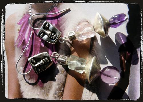 Orecchini fluorite volti - Face fluorite earrings IBMEFL