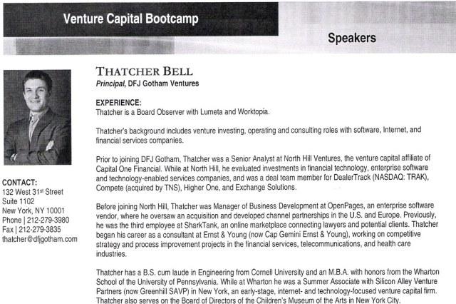 Venture Capital Bootcamp 2009 - Thatcher Bell