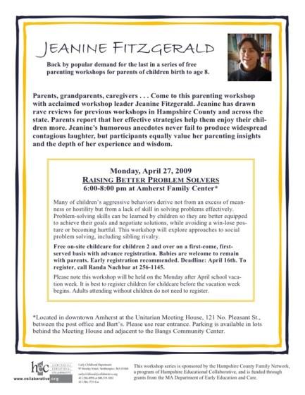 Parenting Workshop - April 27th, 2009