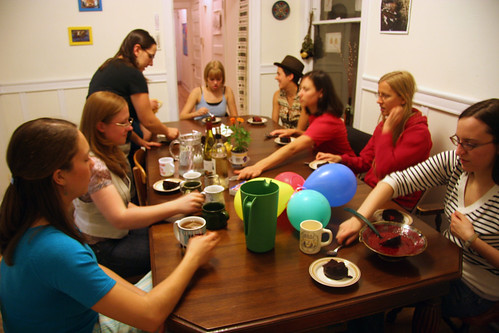 Girls, cake and wine, what more does one need for brilliant conversation?