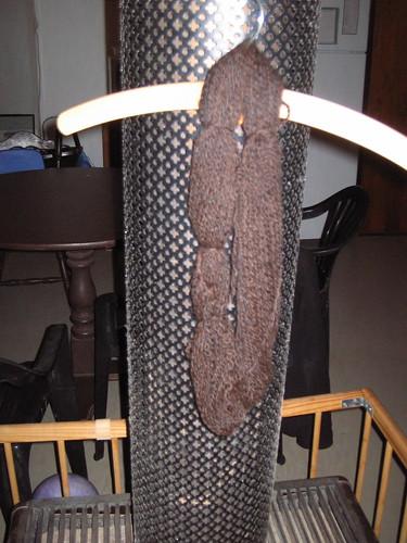 20g 2 ply 100% Alpaca spun woollen drying over the fire - 12 WPI