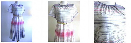 Vintage Dress Pleats of Grey & Pink