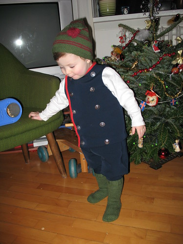 Hjalti wearing his first Icelandic costume and eating Cheerios