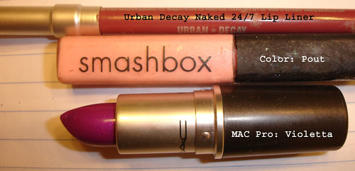 MAC Violetta Lipstick - Smashbox Pout Gloss - Urban Decay lip liner