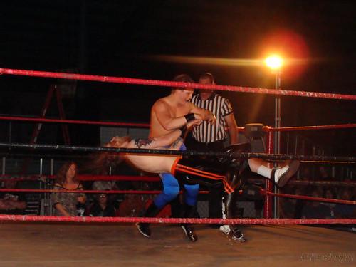 K.C. Karrington took Gary the Nightowl to the limit in their match. Photo by Kari Williams