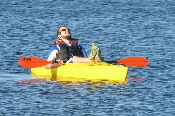 Chuck resting in the kayak