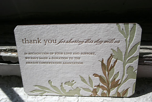 Letterpress wedding favor card - Amazon Conservation Association - printed by Smock  by Smock Letterpress.