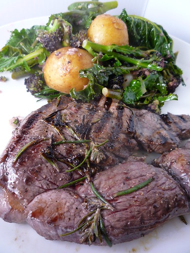 Lamb Steaks with Purple Sprouting Brocolli and Potato