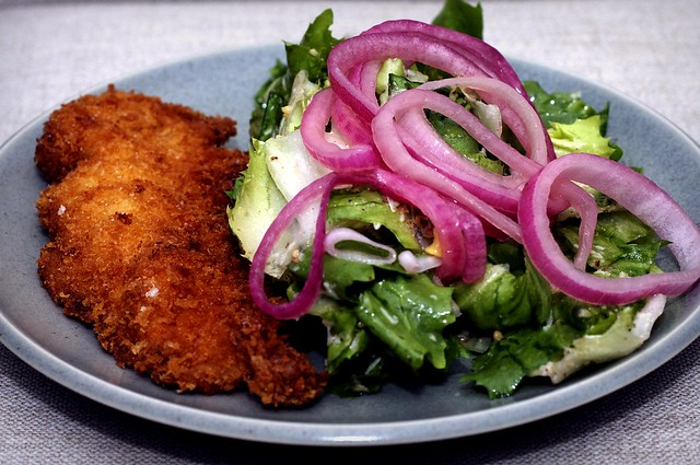 chicken milanese + escarole salad