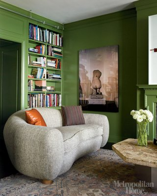 Green library painted Benjamin Moore Pine Brook, via Roomlust
