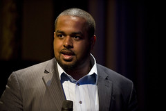 Joshua DuBois speaks to crowd at post-event re...