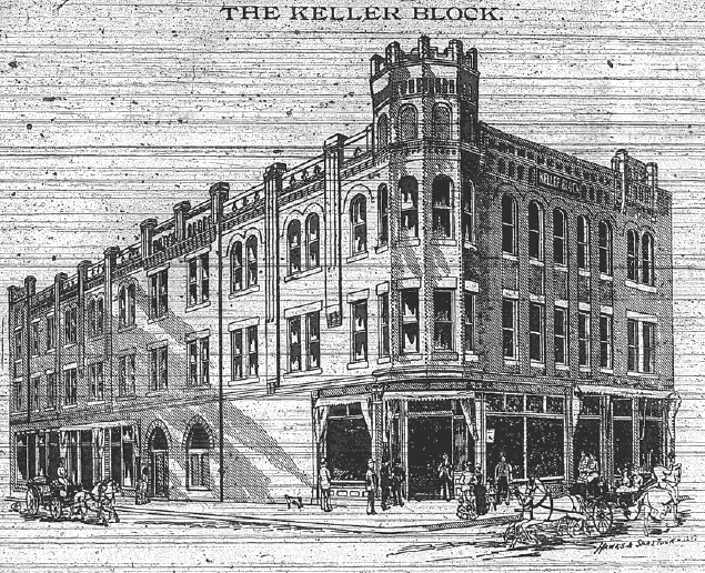 A sketch of the Keller Building from 1893