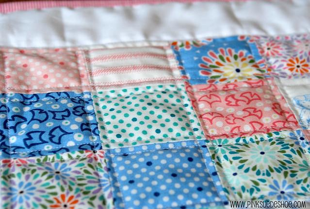 close up of quilt