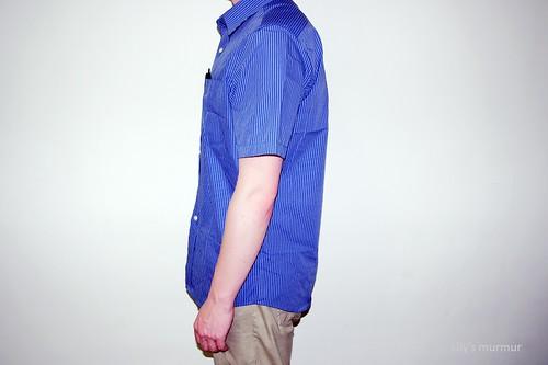 MKL示範「率性條紋襯衫」(藍條)側面照