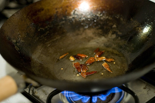 Frying Chili Peppers for General Tso's Chicken