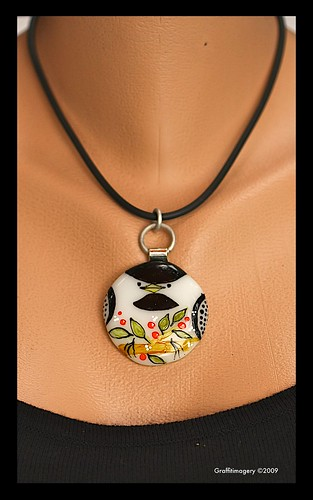 Chubby Chickadee....fused glass pendant by Sandra Miller by you.