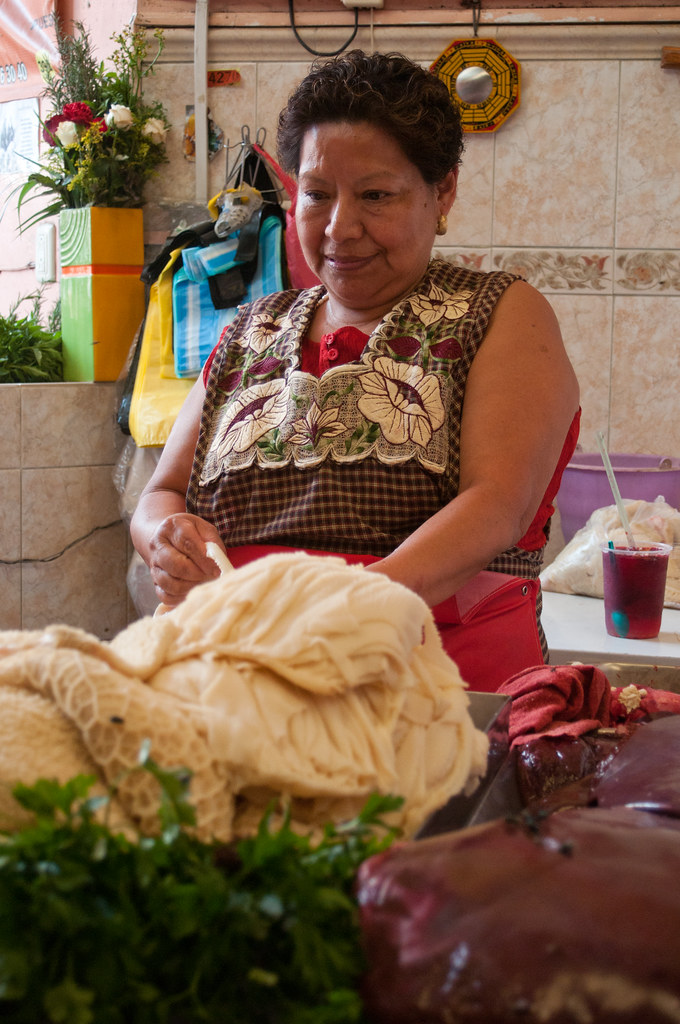 Woman with tripe at the Oaxaca Market