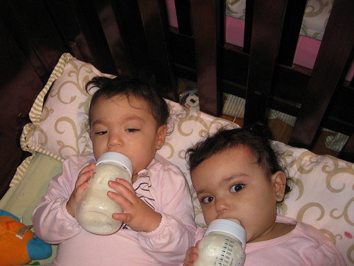 Mom we havn't had our morning bottle yet- get out of our faces by you.