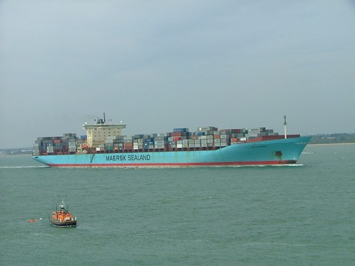 A Maersk container ship entering Southampton