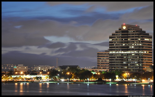 View of Foster City at night