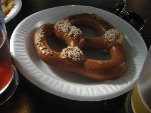 They have burger, sausage, sushi, etc... but my dinner was a jumbo pretzel. Someone at the table ordered it for all of us, but I think I ate the half of it.