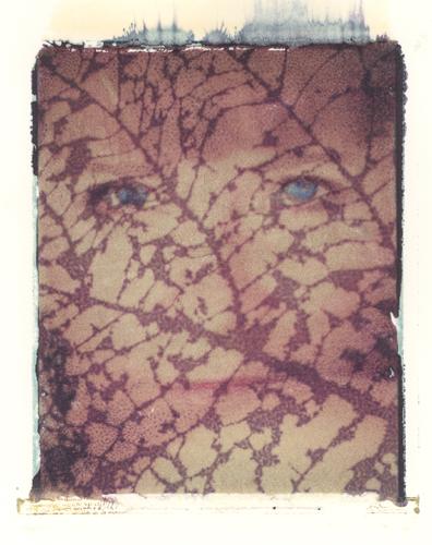 lady in the leaf Polaroid Transfer (c) 2004, Lynne Medsker