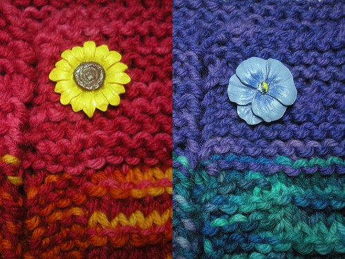 sunflower and pansy button