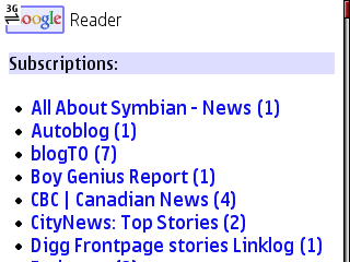 Google Reader Mobile - Subscription View