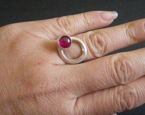 Coordinating and matching ring to the pendant. Sterling Silver and Lab Ruby