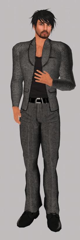 BalAni Black Herringbone Suit