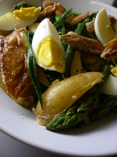 Warm Salad of New Potatoes , Asparagus , Smoked Mackerel , Wild Garlic and Egg Salad
