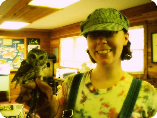 So much love!: Petra (Northern Saw-whet owl) and me