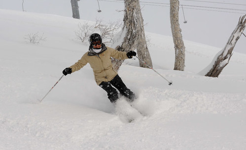 Vicki skiing fresh tracks