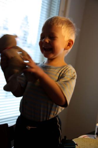 Niilo loves the teddy!