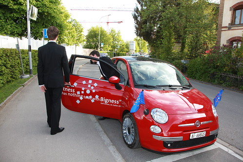 They had these cute cars branded with the symposium logos to drive people around
