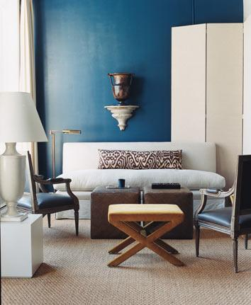Modern blue + white living room: 'Galapagos Turquoise' by Benjamin Moore