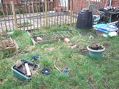 Before - greenhouse area. There is the possibility of a greenhouse donated by a friend, this year, but if not, ill probably fill the hole that the greenhouse should go in, in, and grow something in that space.