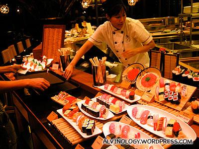 Large variety of sushi