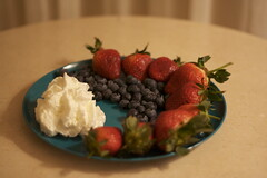 Berries and cream make a great dessert.
