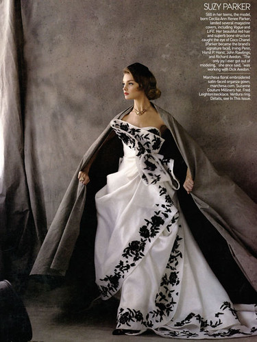 Nadia as Suzy Parker in an amazing Marchesa dress