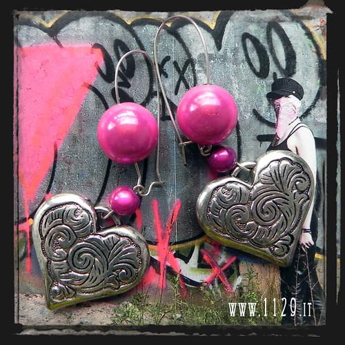 Orecchini rosa cuore - Pink heart earrings IAMECUF