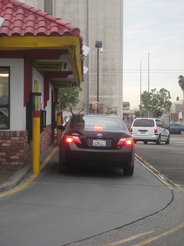 Fast food drive thru line producing emissions