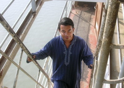 On ferry, while crossing Padma river