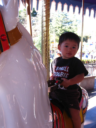 Then we went on King Arthurs Carousel.  He liked it so much we went twice (after the first time, he made the sign for more/again)